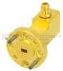 WR-12 to 1.0mm Female Waveguide to Coax Adapter UG-387/U Round Cover Standard with 60 GHz to 90 GHz E Band in Aluminum, Gold -- SMW12AC001-VF - Image