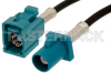Water Blue FAKRA Plug to FAKRA Jack Cable 48 Inch Length Using PE-C100-LSZH Coax -- PE38748Z-48 -Image