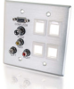 Double Gang HD15 VGA + 3.5mm + Composite Video + Stereo Audio + Keystone Wall Plate - Brushed Aluminum -- 2225-40509-ADT - Image