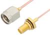 SMA Male to SMA Female Bulkhead Cable 6 Inch Length Using PE-047SR Coax -- PE3531-6 -Image