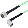 Low Loss N Male to N Male Right Angle Cable Assembly with Heavy Duty Heat Shrink Boot using LL142 Coax, 1.5 FT -- LCCA30019-FT1.5 -Image