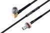 MIL-DTL-17 SMA Male Right Angle to SMA Female Bulkhead Cable 8 Inch Length Using M17/119-RG174 Coax -- PE3M0109-8 -Image
