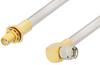 SMA Male Right Angle to SMA Female Bulkhead Cable 48 Inch Length Using PE-SR401AL Coax , LF Solder -- PE34317LF-48 -- View Larger Image