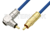 75 Ohm RCA Male to 75 Ohm RCA Male Right Angle Cable 48 Inch Length Using 75 Ohm PE-B159-BL Blue Coax -- PE38134/BL-48 -Image
