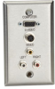 A/V Stainless Wallplate, Single-Gang, (1) VGA HD15 F, (1) S-Video F, (3) RCA F Feed-Through Couplers -- WP803