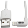 Right-Angle Lightning Cable, USB Type-A to Lightning, 3 ft. Cord, Reversible Lightning Plug -- M100-003-LRA-WH - Image