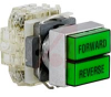Dual Pushbutton, Non-Illum'd Green-Green, (2) Moment (w/interlock), 2NO-2NC, 10A -- 70060404 - Image