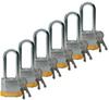 Brady Yellow Steel 5-pin Keyed & Safety Padlock 51297 - 1 9/16 in Width - 1 1/3 in Height - 17/64 in Shackle Diameter - 2 Key(s) Included - 754476-51297 -- 754476-51297