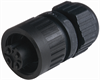 Circular Field Attachable Power Connector (CA Series): Female, straight, 4-pin(3+PE), integrated strain relief, 400 V AC/230 V DC, 16 A AC/10 A DC -- CA 3 LD - Image