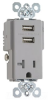 Combination Switch/Receptacle -- TR5361USB-GRY -- View Larger Image