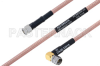 MIL-DTL-17 SMA Male to SMA Male Right Angle Cable 100 cm Length Using M17/60-RG142 Coax -- PE3M0024-100CM -Image