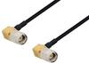 SMA Male Right Angle to SMA Male Right Angle Cable 24 Inch Length Using PE-SR405FLJ Coax with HeatShrink -- PE3W03174/HS-24 -Image