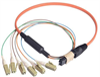 MPO Male to 6x LC Fan-out, 6 Fiber Ribbon, OM2 50/125 Multimode, OFNR Jacket, Orange, 1.0m -- MPM6OM2-LC-1 - Image