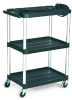 "3 Shelf Open Cart 4"" dia. Casters 32 1/2"" L x 18 5/8"" W x 42 3/8"" H. 200# capacity. Max TV size 24 -- 8991"