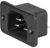 IEC Appliance Inlet C22, for very hot conditions 155°C, Screw-on or Snap-in Mounting, Front Side -- 1681 -Image