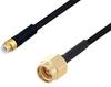 Snap-On MMBX Plug to SMA Male Cable 24 Inch Length Using PE-SR405FLJ Coax with HeatShrink -- PE3W05863/HS-24 -Image