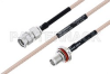 MIL-DTL-17 SMA Male to SMA Female Bulkhead Cable 12 Inch Length Using M17/113-RG316 Coax -- PE3M0092-12 -Image