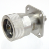 4 Hole Flange SMA Female to N Male Adapter, Passivated Stainless Steel Body, 1.15 VSWR -- SM4257 - Image