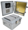 14x12x06 Polycarbonate Weatherproof Outdoor IP24 NEMA 3R Enclosure, 120 VAC MNT PLT, Mechanical Thermostat Heat & Fan DKGY -- TEPC141206-1HF -Image