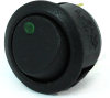 Illuminated Round Rocker Switch 44171, On-Off, SPST, 3 Contacts, Green -- 44171 - Image
