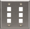6-Port Double-Gang Keystone Stainless Steel Wallplate -- WP375 - Image