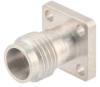 2.4mm Female (Jack) Connector Field Replaceable 4 Hole Flange (Panel Mount) .250 inch Hole Spacing 0.015 inch Pin with Metal Contact Ring -- FMCN1666 -Image
