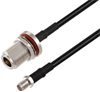 N Female Bulkhead to SMA Female Cable Assembly using RG58 Coax, 5 FT -- LCCA30685-FT5 -Image