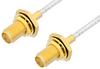 SMA Female Bulkhead to SMA Female Bulkhead Cable 6 Inch Length Using PE-SR405FL Coax, RoHS -- PE34070LF-6 -Image