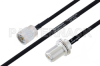 MIL-DTL-17 N Male to N Female Bulkhead Cable 12 Inch Length Using M17/84-RG223 Coax -- PE3M0038-12 -Image