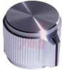 Knob, machined aluminum, pointer, SH: .125, .50 inch dia, .63 inch ht -- 70206963