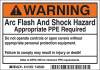 Brady B-302 Black / Orange on White Rectangle Polyester Arc Flash Label - 5 in Width - 3 1/2 in Height - Printed Text = WARNING ARC FLASH AND SHOCK HAZARD APPROPRIATE PPE REQUIRED DO NOT OPERATE CONTR -- 754476-00891