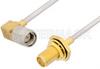 SMA Male Right Angle to SMA Female Bulkhead Cable 12 Inch Length Using PE-SR405AL Coax -- PE34311LF-12 -Image