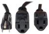 Power Extension Cord Y Splitter Cable, 13A, 16AWG (NEMA 5-15P to 2x NEMA 5-15R) 18-in. -- P024-18N-13A-2R