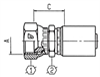 AlfaCrimp One-Piece Fittings - C124 - SAE Female Swivel 45° Seat