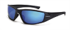 Polarized Safety Glasses: ANSI Z87+, blue mirror lens, black frame -- SG-23226
