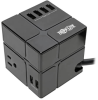 Protect It! 3-Outlet Power Cube Surge Protector - 6 USB-A Ports (7.2A Shared), 6 ft. Cord, 540 Joules, Black -- TLP366CUBEUSBB