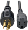 5-15R to L5-15P Adapter Power Cord - Heavy Duty, 15A, 120V, 14 AWG, 1 ft., Black -- P025-001 - Image