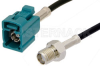 SMA Female to Water Blue FAKRA Jack Cable 24 Inch Length Using PE-C100-LSZH Coax -- PE39349Z-24 -Image