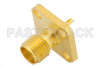 RT SMA Female Connector Solder Attachment 4 Hole Flange Solder Cup Terminal, .340 inch Hole Spacing -- PE44200 -Image