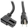 Heavy-Duty Power Cord, 15A, 14 AWG (NEMA 5-15P to Right-Angle IEC-320-C15), Black, 8 ft. -- P019-008-C15RA