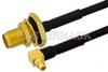 SMA Female Bulkhead to MMCX Plug Right Angle Semi-Flexible Cable 12 Inch Length Using PE-SR405FLJ Coax with HeatShrink, LF Solder, RoHS -- PE39436-12 -Image