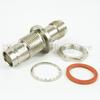 Hermetically Sealed TNC Female (Jack) to BNC Female (Jack) Bulkhead Adapter, Nickel Plated Brass Body, 1.3 VSWR -- SM3543 - Image