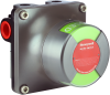 MICRO SWITCH VPX Series Valve Position Indicator, assembled in China, 2X intrinsically safe inductive prox sensor, 90° indicator, Green (open)/Red (closed), Namur shaft, 360° continuous shaf -- VPX1C2CBGR1A2A - Image