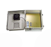 14x12x07 Fiberglass Polyester FRP Weatherproof Outdoor IP24 NEMA 3R Enclosure, 240 VAC UNIV. Outlet MNT PLT, MECH Thermostat Heat & Fan Gray -- TEF141207-EHF -Image
