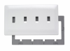 Four Gang Toggle Screwless Wall Plate with Plastic Sub-plate -- SWP4W