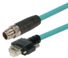 Category 6a M12 8 Position X code Double Shielded Industrial Cable, M12 M/GigE, 1.0m -- TAA00009-1M -Image
