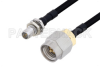 Slide-On BMA Plug Bulkhead to SMA Male Cable 60 Inch Length Using PE-SR402FLJ Coax -- PE3C4906-60 -Image