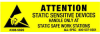 """Label, Yellow/Black 5/8"""" x 2""""  """"Attention Sensitive Devices"""" -- 308-5802 -- View Larger Image"""
