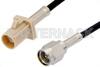 SMA Male to Beige FAKRA Plug Cable 12 Inch Length Using RG174 Coax -- PE39197I-12 -Image