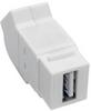 USB 2.0 All-in-One Keystone/Panel Mount Angled Coupler (F/F), White -- U060-000-KPA-WH